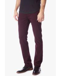 7 For All Mankind Purple Luxe Performance Colored Denim: Slimmy Slim Straight Leg In Crimson for men