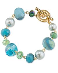 Carolee | Metallic Gold-tone Crystal And Bead Bracelet | Lyst