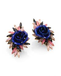 Erickson Beamon | Blue Enamel Swarovski Crystal Urban Jungle Earrings | Lyst