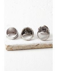 Forever 21 - Metallic Faux Stone Etched Ring Set - Lyst