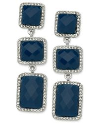 T Tahari | Silver-tone Blue Stone And Crystal Triple Drop Earrings | Lyst