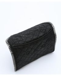 Stella McCartney - Black Quilted Faux Suede 'falabella' Foldover Clutch - Lyst