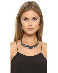 Iosselliani - Multicolor Multi Stone Gunmetal Necklace - Lyst
