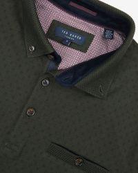 Ted Baker Green Mendosa Knitted Collar Polo Shirt for men