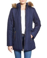 Celebrity Pink - Blue Quilted Coat With Faux Fur Trim - Lyst