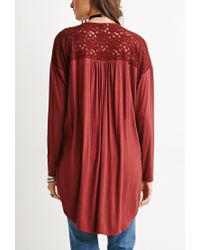 Forever 21 - Red Twist-front Lace-paneled Tunic - Lyst