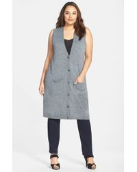 Halogen - Gray Wool Blend Long Sweater Vest - Lyst
