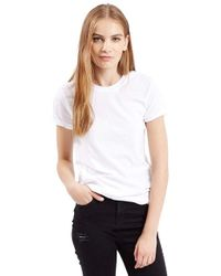TOPSHOP | White Roll Sleeve Crewneck Tee | Lyst