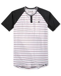 Hurley - Black La Cave Dri-fit Stripe Raglan-sleeve Henley for Men - Lyst