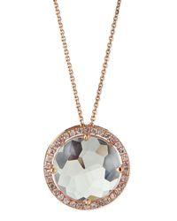 Suzanne Kalan - Pink 14K Rose Gold White Topaz & Pave Sapphire Necklace - Lyst
