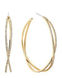 Michael Kors | Metallic Pavé Criss Cross Hoop Earrings | Lyst