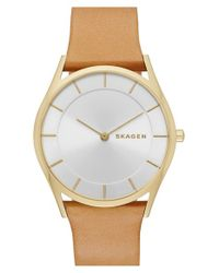 Skagen - Metallic 'holst' Leather Strap Watch - Lyst