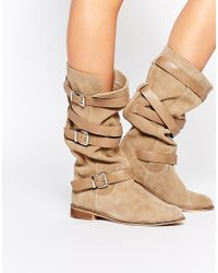 ASOS - Natural Candid Suede Knee High Boots - Sand - Lyst