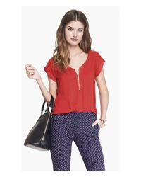 Express | Red Silky Zip Front Rolled Sleeve Blouse | Lyst