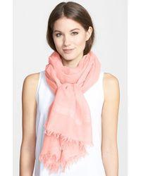 Halogen - Pink 'Lightness' Linen Blend Scarf - Lyst