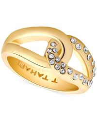 Tahari - Metallic T Gold-tone And Crystal Knot Band Ring - Lyst