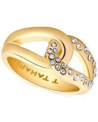 Tahari | Metallic T Gold-tone And Crystal Knot Band Ring | Lyst