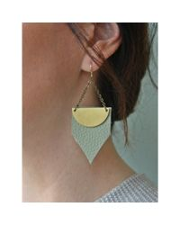 Spectrum | Green Angled Leather Earrings | Lyst