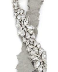 Deepa Gurnani - Gray Crystal Floral Headband - Ivory - Lyst