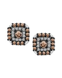 Le Vian | Metallic Chocolate Diamond 12 Ct Tw and White Diamond 18 Ct Tw Square Stud Earrings in 14k White Gold | Lyst