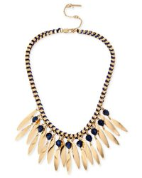 Kenneth Cole - Gold-tone Blue Stone And Shaky Stick Frontal Necklace - Lyst