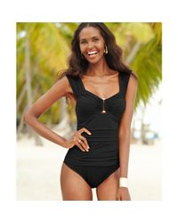 Kenneth Cole | Black Ruched Hardware Onepiece | Lyst