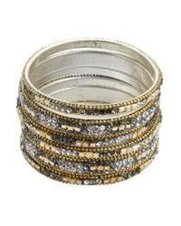 Chamak by Priya Kakkar - Metallic Set Of 6 - Gold And Grey Jeweled Bangles - Lyst
