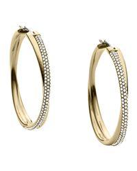 Michael Kors | Gray Crisscross Pave Hoop Earrings | Lyst