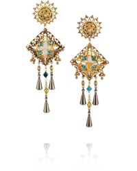 Vickisarge - Green Basilica Oxidized Goldplated Swarovski Crystal Clip Earrings - Lyst