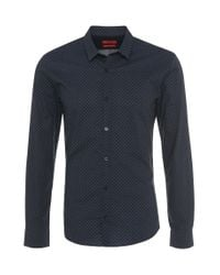 HUGO | Blue 'ero' | Slim Fit, Cotton Skull Print Button Down Shirt for Men | Lyst