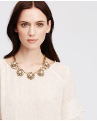 Ann Taylor | Metallic Crystal Cluster Statement Necklace | Lyst