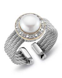 Charriol - Metallic Diamondset Pearl Cable Ring Size 65 - Lyst