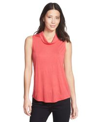 Halogen - Red Roll Neck Sleeveless Top - Lyst