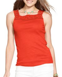 Lauren by Ralph Lauren | Orange Sleeveless Macrame Top | Lyst