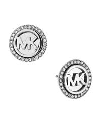 Michael Kors - Metallic Logo Silvertone Stainless Steel Stud Earrings - Lyst