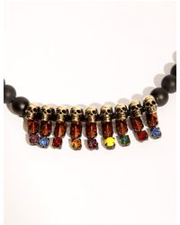 Pixie Market - Black Agate Beaded Skull Necklace - Lyst