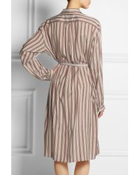 Rochas - Natural Oversized Striped Brushedsilk Shirt Dress - Lyst