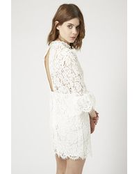 TOPSHOP - White Bell Sleeve Lace Shift Dress - Lyst