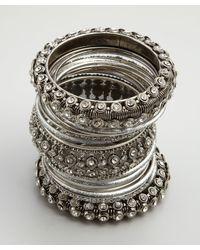 Chamak by Priya Kakkar | Metallic Set Of 24 Silver Glitter and Crystal Bangles | Lyst