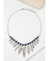 Forever 21 - Blue Feather Pendant Statement Necklace - Lyst