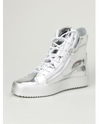 Giuseppe Zanotti - Metallic Hi-top Sneakers for Men - Lyst