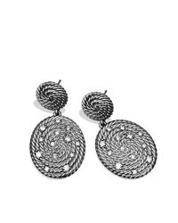 David Yurman | Metallic Cable Coil Double-drop Earrings With Diamonds | Lyst