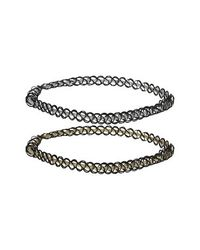 TOPSHOP - Metallic Elasticated Band Tattoo Chokers - Lyst