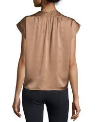 Halston - Metallic Cap-sleeve Wrap-front Blouse - Lyst