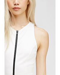 Forever 21 - Natural Zippered Scuba Knit Bodysuit - Lyst