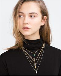 Zara | Metallic Gemstone Necklaces | Lyst