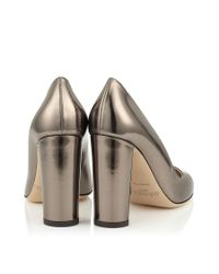 Jimmy Choo - Metallic Laria 100 Pyrite Mirror Leather Round Toe Pumps - Lyst