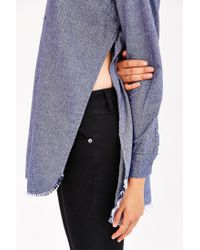 BDG - Blue Meyer Shredded Flannel Shirt - Lyst