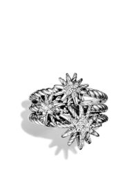 David Yurman | Metallic Starburst Cluster Ring With Diamonds | Lyst
