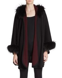 La Fiorentina | Black Fox Fur-trimmed Hooded Cape | Lyst